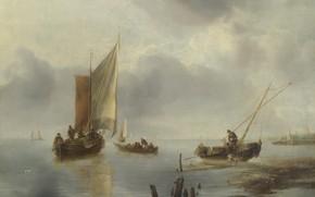Картинка картина, парус, Jan van de Cappelle, Ян ван Каппель, Маленькое судно на лёгком ветру