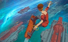 Картинка Облака, Рисунок, Космос, Стиль, Clouds, Арт, Space, Art, Style, Арнольд, Орбита, Arnold, Spaceship, Cyborg, Characters, …