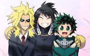Картинка Всемогущий, My Hero Academia, Boku No Hero Academia, Мидория Изуку, Моя Геройская Академия, один за …