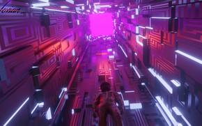 Картинка свет, комната, вверх, высота, арт, костюм, грани, куб, геометрия, киберпанк, фигуры, sci-fi, cyberpunk, Another look, …