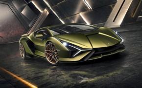 Картинка машина, свет, фары, Lamborghini, суперкар, диски, гибридный, Sián
