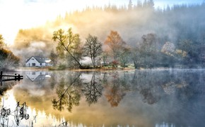 Обои Lakes, Water, Nature, Fog, Landscapes, Morning, Houses