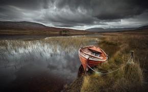 Картинка река, лодка, долина