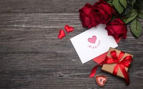 Картинка любовь, цветы, подарок, сердце, розы, red, love, romantic, hearts, valentine's day, gift, roses