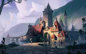 Картинка горы, Castle design, водоём, замок, человек