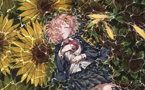 Картинка вода, девушка, цветы, школьная форма