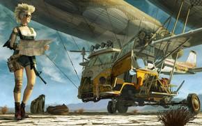 Обои Девушка, Машина, Шар, Art, Фантастика, Летающая машина, Eddie Bennun, by Eddie Bennun, FZD