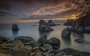 Картинка море, пейзаж, природа, камни, скалы, берег, утро, Испания, Коста-Брава