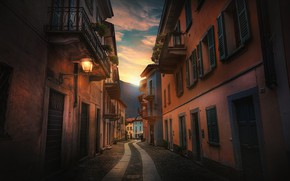 Обои улица, Италия, фонарь, Каннобио