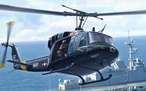 Картинка Twin Huey, многоцелевой вертолёт, двухдвигательный вариант, UH-1N