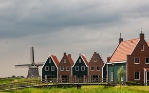 Картинка дома, Нидерланды, ветряная мельница, Волендам