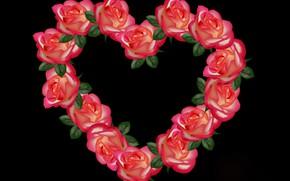 Картинка цветы, сердце, розы, 8 марта