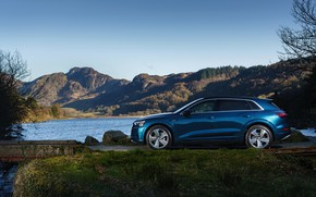 Картинка Audi, E-Tron, у водоёма, 2019, UK version
