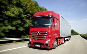 Картинка красный, Mercedes-Benz, трасса, седельный тягач, 2013, 4x2, Actros, полуприцеп