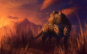 Картинка закат, природа, леопард, by CreeperMan0508