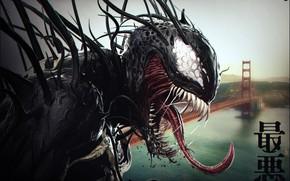 Картинка Язык, Зубы, Сан-Франциско, Золотые ворота, Арт, Marvel, Веном, Venom, Симбиот, Creatures, Kenny Carmody, by Kenny …