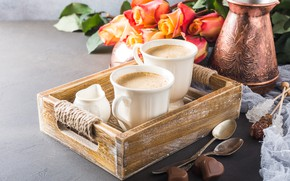 Картинка кофе, розы, букет, конфеты, чашки, сердечки, шоколадная, Iryna Melnyk
