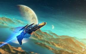 Картинка фантастика, корабль, планета, арт, sci-fi