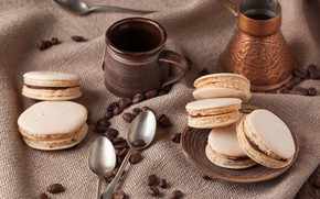 Картинка кофе, печенье, турка, миндальное
