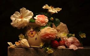 Обои цветы, стол, розы, лепестки, ракушка, ваза, черный фон, натюрморт, сливы