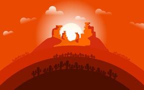 Картинка Закат, Солнце, Минимализм, Пустыня, Кактусы, Landscape, Concept Art, Кактус, Environments, Naughty Natesan, Circle animation world, …