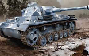 Картинка вермахт, панцерваффе, Pz.Kpfw. III Ausf. K, немецкий средний командирский танк