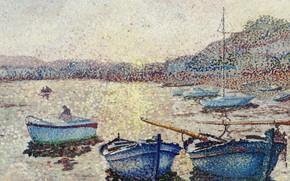 Картинка море, лодки, пуантилизм, Yvonne Canu, Ивонн Кану, Гавань. Закат