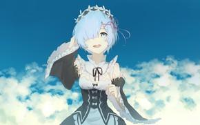 Картинка небо, девушка, облака, аниме, арт, Re: Zero kara Hajimeru Isekai Seikatsu, Рем