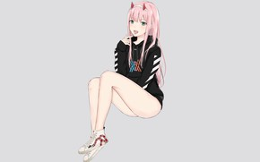 Картинка девушка, стиль, спорт, кеды, аниме, арт, 002, Darling In The Frankxx, Милый во Франксе