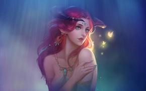 Картинка Девушка, Рисунок, Стиль, Лицо, Girl, Бабочки, Fantasy, Рога, Арт, Beautiful, Art, Фантастика, Красивая, Horns, Fairy, …