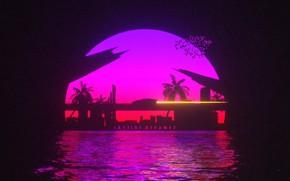 Картинка Закат, Солнце, Вода, Авто, Мост, Музыка, Машина, Стиль, Фон, 80s, Style, Neon, Illustration, 80's, Synth, …
