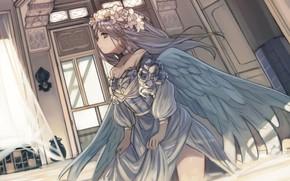 Картинка девушка, ангел, венок