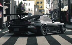 Картинка Авто, Черный, Машина, Улица, Mazda, RX-7, Рендеринг, Mazda RX7, Mazda RX-7, Transport & Vehicles, by …