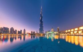 Картинка вода, отражение, здания, Дубай, ночной город, Dubai, небоскрёб, ОАЭ, Бурдж-Халифа, Burj Khalifa, UAE