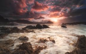 Картинка море, закат, скалы, берег