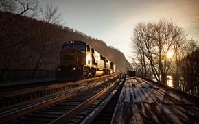 Картинка ночь, поезд, железная дорога