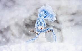 Картинка снег, игрушка, снеговик