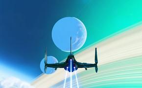Картинка fantasy, science fiction, sci-fi, planet, trail, digital art, artwork, fantasy art, Spaceship, futuristic