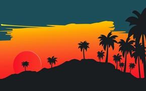 Картинка Солнце, Минимализм, Звезда, Стиль, Пальмы, Фон, Style, Illustration, 80's, Synth, Retrowave, Synthwave, New Retro Wave
