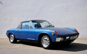 Картинка синий, стена, Porsche, Volkswagen, тарга, 914, VW-Porsche, купе-родстер, 914/6