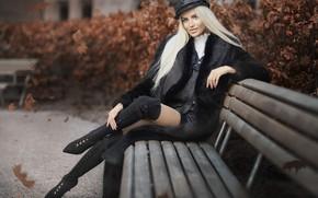 Картинка осень, взгляд, девушка, поза, парк, волосы, фигура, шуба, красотка, Javier Ullastres