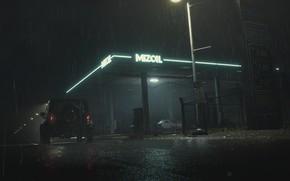 Картинка ночь, дождь, заправка, Неон, RESIDENT, RESIDENT EVIL, RESIDENT EVIL 2