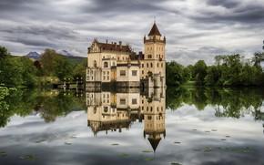 Картинка деревья, озеро, замок, Австрия, Austria, Salzburg, Зальцбург, Castle Anif