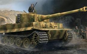 Картинка Тигр, вермахт, Panzerkampfwagen VI, немецкий тяжёлый танк, Pz.VI Ausf E