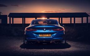 Картинка закат, BMW, вид сзади, Coupe, Competition, UK-Spec, 2019, BMW M8, F92
