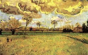 Картинка Винсент ван Гог, a Stormy Sky, Landscape Under