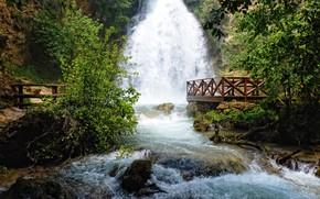 Картинка река, камни, водопад, поток, площадка, сербия, ресавица