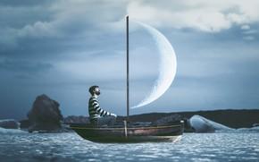 Обои луна, лодка, человек, парус