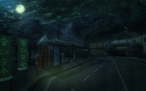 Картинка дорога, ночь, луна, улица, лунный свет
