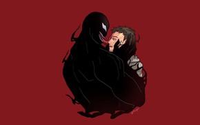 Картинка любовь, фон, нежность, минимализм, арт, слёзы, красный фон, плачет, Веном, Venom, Эдди Брок